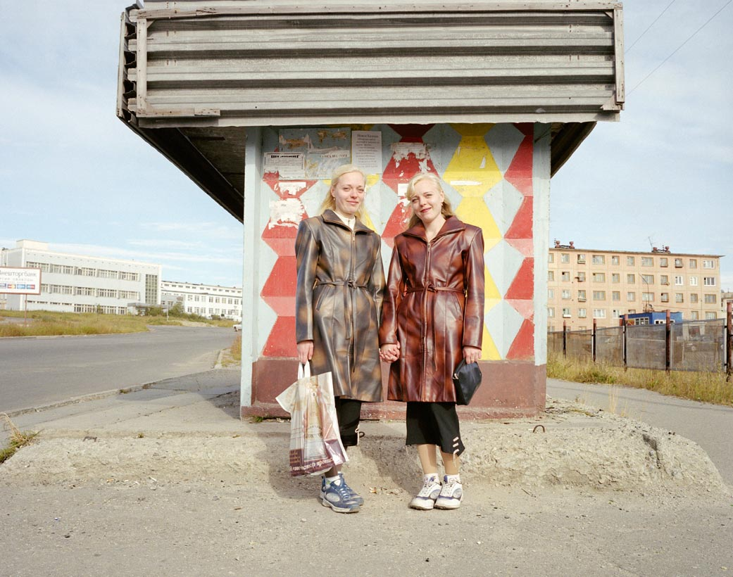 Identical twins, Elena and Vera Karnova, Magadan, Far East Russia, August 2004