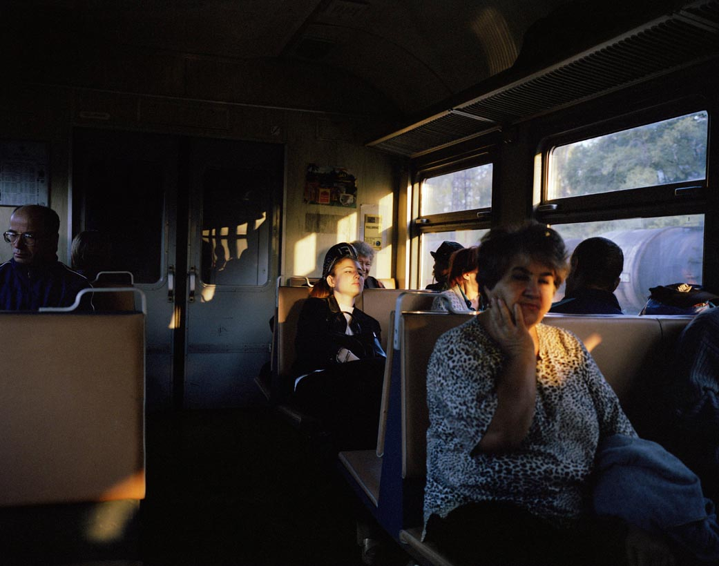 Train passengers at dusk, Birobidzhan, Far East Russia, October 2004
