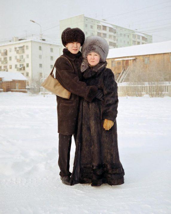 Zhenya and his pregnant fiance Mia, Yakutsk, Eastern Siberia, November 2004