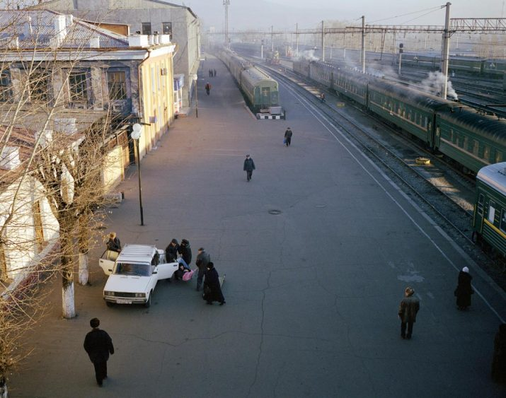 An elderly passenger is carried off the Trans-Siberian, Chita, Eastern Siberia, November 2004
