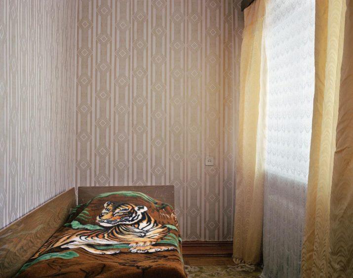Tiger print bedspread in the Druzhba hotel, Kyakhta, Eastern Siberia, November 2004
