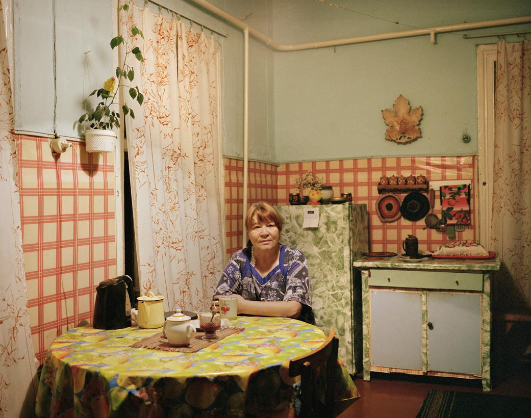 Lyuba in her kitchen, Port Baikal, Eastern Siberia, November 2004