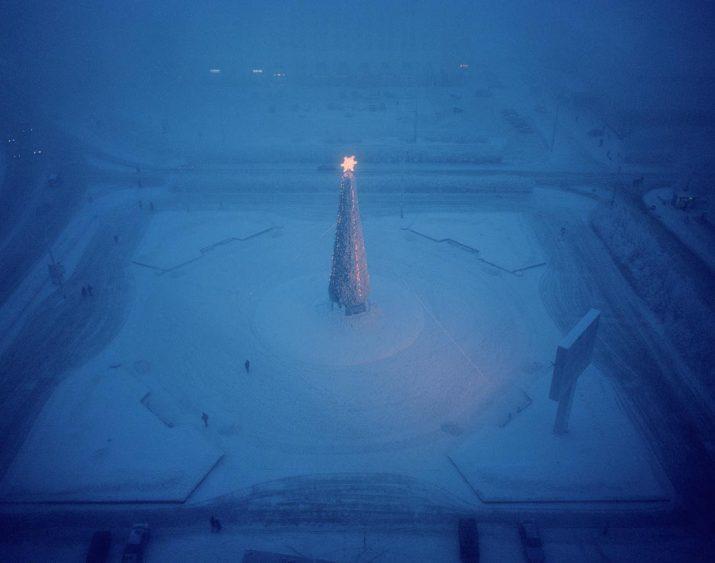 A Christmas tree and advertising billboard, Murmansk, Northwestern Region, January 2005