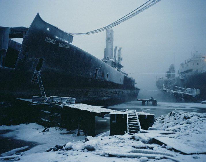 Abandoned warship in the Kola Bay, Murmansk, Northwestern Region, January 2005