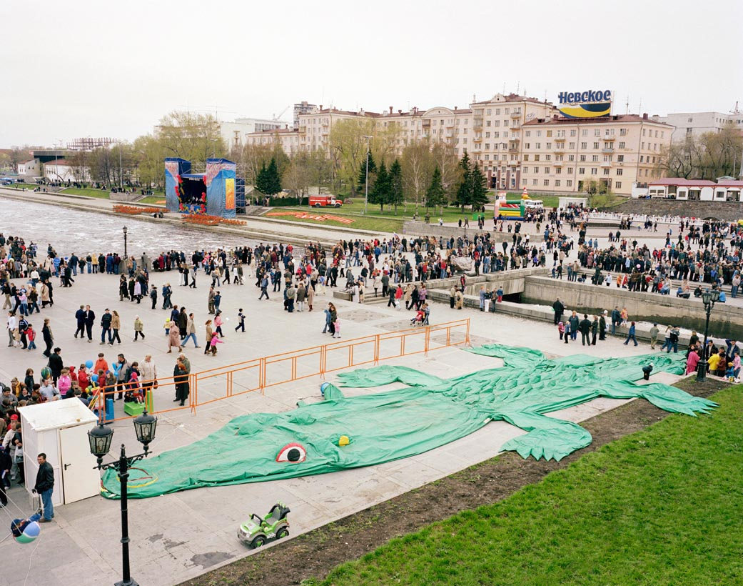 Deflated crocodile on Victory Day, Yekaterinburg, Urals, May 2005