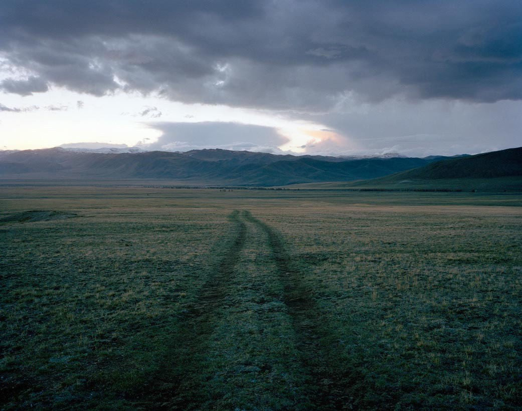 Car tracks, Tebelir, Altai Mountains, June  2005