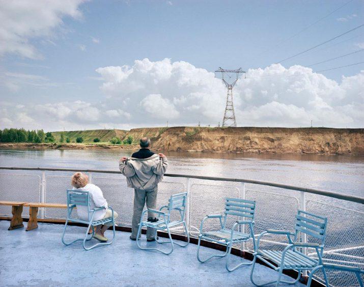 Holidaymakers onboard the Afanasy Nikitin cruise ship, Volga River, Volga, June 2005