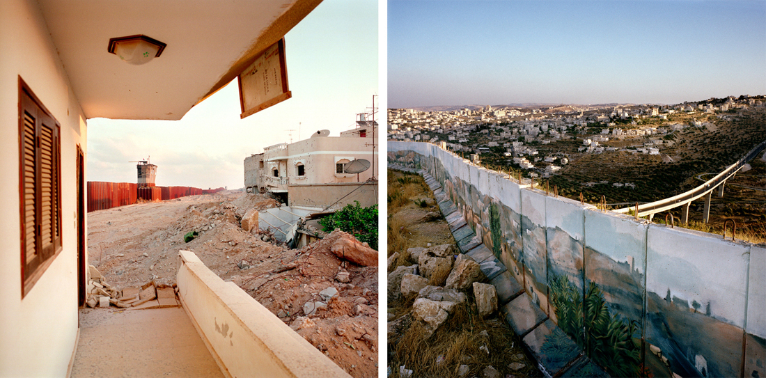 Israeli watchtower on Rafa crossing, Gaza (L); Concrete wall separating the Israeli town of Gilo from Bethlehem (R).