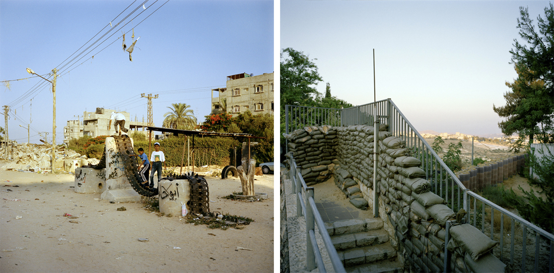Tank tracks as improvised playground, Gaza (L); Protective sandbags outside Israeli settlement home, Har Homa (R).