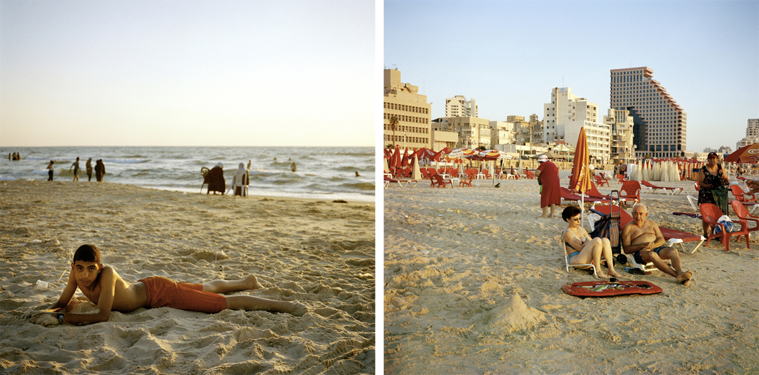 Palestinian teenager, Gaza City beach (L); Israeli couple in Tel Aviv (R).