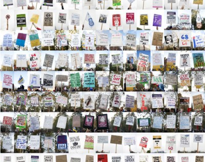 Placards from demonstrations across the UK, 2010 - 2012 (Digital collage)
