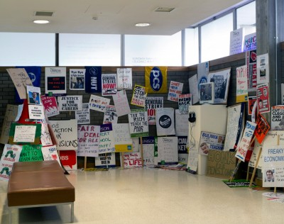 Placards collected from demonstrations, UK, 2010 – 2012 (Installation at Swiss Cottage Gallery, June 2012)